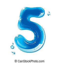 Liquid Alphabet Gel Series on white background, Number Five, editable vector illustration
