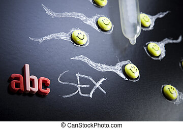 ABC Sex education, colorful bright concept of education