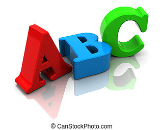 abc sign - 3d illustration of colorful letters abc, over...