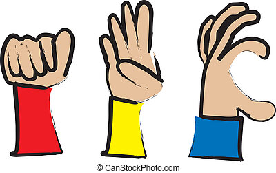 simple cartoon drawing of hands making the a,b and c sign in sign language