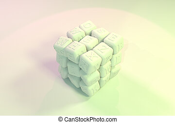 ABC sign or symbol, cube or block for design texture, background. 3D render.
