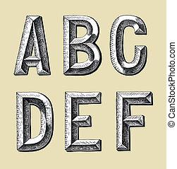 abc, skicc, tervezés, kéz, rajzol
