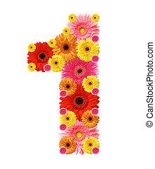 abc - 1, flower alphabet isolated on white