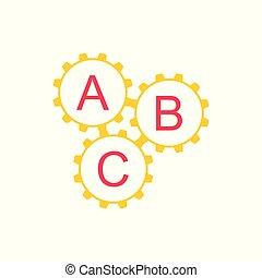 abc, symbole, système, machine, vecteur, dent