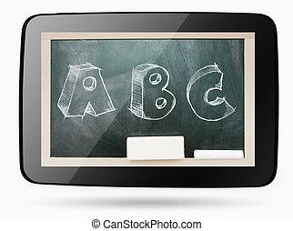 abc, tablette, tableau noir, intérieur, craie, sketchy, informatique, texte