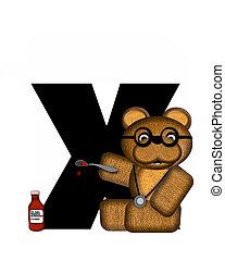 abc, teddy-mackó, meglátogat, ismeretlen mennyiség, orvos