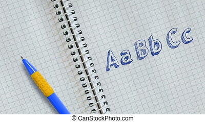Text AaBbCc handwritten on sheet of notebook and animated.