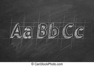 ABC-the first letters of the English alphabet on blackboard
