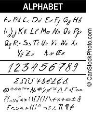 abc, tinta, sketchy, számok, cégtábla, matek
