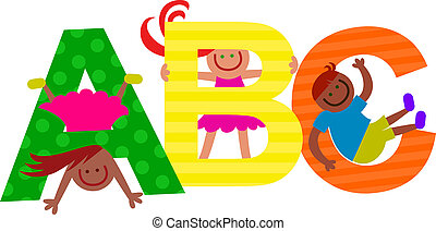 ABC Title Text Kids - Happy cartoon smiling children...