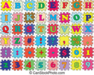 ABC vector puzzle color - Alphabet, numbers and symbols into...