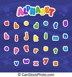 abc, vektor, font., kicsi, letter., karikatúra