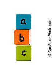 ABC Wooden alphabet blocks isolated on white