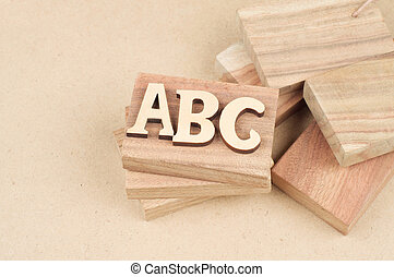 Abc wooden blocks label cut