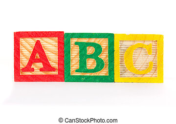 ABC wooden learning blocks in a row