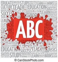 ABC word cloud, education concept