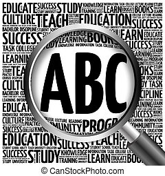 ABC word cloud with magnifying glass