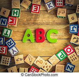 ABC word in wooden block alphabet lay on wooden floor in...