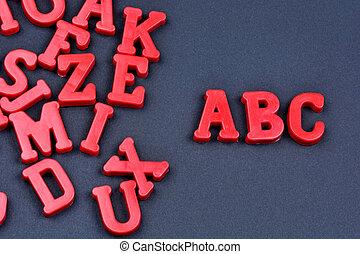 Abc word on black background