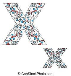 abc, x., vector., lettre, élément