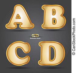 abcd, alfabeto, ricamo