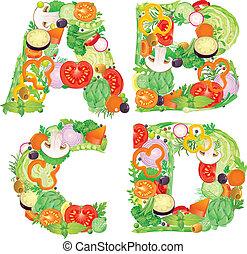 abcd, alphabet, légumes