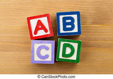 abcd, jouet, bloc
