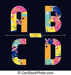 abcd, stil, sätta, färgrik, alfabet, geometrisk