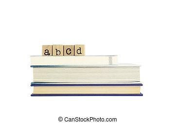 abcd, timbres, bois, mot, livres