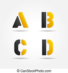 abcd yellow stencil letters