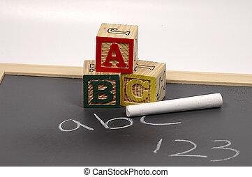 ABCs - Photo of Blocks, Chalkboard and Chalk
