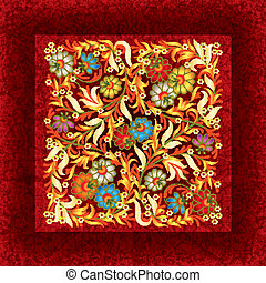 abctract floral ornament on grunge background