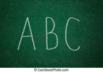 ABD on green chalkboard
