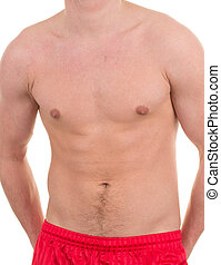 Abdomen - Male abdomen without a shirt, isolated on white