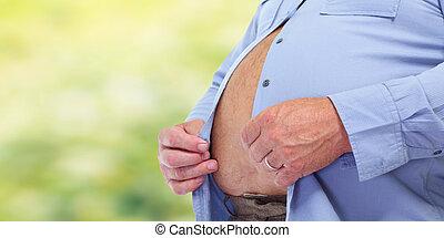 abdomen., obeso, hombre