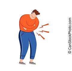 abdomen, tacto, dolor de estómago, sufrimiento, manos, planchado, dolor, el suyo, hombre, illustration., vector, gastritis, crónico, tipo