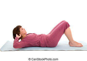 Abdominal exercises - Pretty brunette doing abdominal...