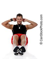 abdominal, homem jovem, caucasiano, atraente, exercícios