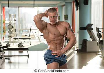 Abdominal Muscle Close-Up - Serious Man Standing In The Gym ...