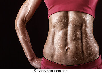 Abdominal muscles - Close-up of the abdominal muscles young...