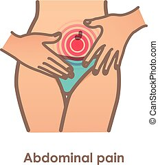 Abdominal pain. Vector illustration with woman belly. ...