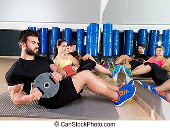 abdominal, platte, training, kern, gruppe, an, turnhalle