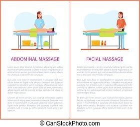 abdominal, séance, facial, affiches, dessin animé, masage