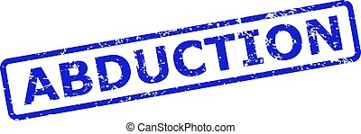 Blue ABDUCTION seal stamp on a white background. Flat vector grunge seal stamp with ABDUCTION message is inside rounded rectangle frame. Watermark with scratched surface.