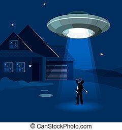 abducts, étrangers, nuit, sous, vaisseau spatial, nuage, homme