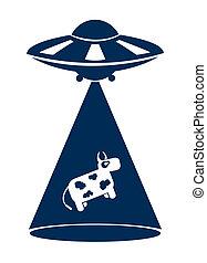 abduzione, vettore, mucca, segno