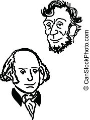 A hand drawn depiction of a happy Abraham Lincoln and George Washington.
