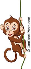 abe, træ branch, hængende, baby, cartoon