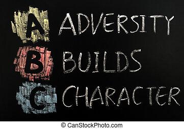 abeceda, budovat, akronym, -, charakter, neštěstí