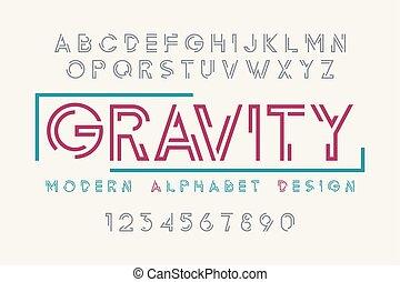 abeceda, dát, moderní, charakter, typografie, vystavit, kropenka, design